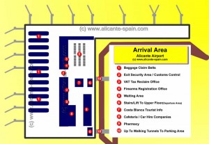 Alicante Airport Arrival Area Map
