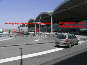 Exact Location of Parking Bays For Handicapped at Departure level Alicante Airport