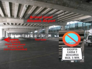 No parking directly outside the arrival area at Alicante airport