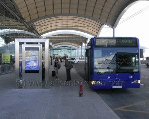 Busstop for local buses to Benidorm Alicante Murcia and Denia outside the departure area of alicante airport