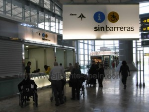 help desk for people with disability or reduced mobility in departure area