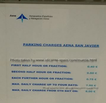 Parking charges at the airport in Murcia