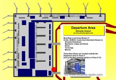 Bus Stop Alicante Airport to Benidorm, Calpe, Denia, Torrevieja Buses