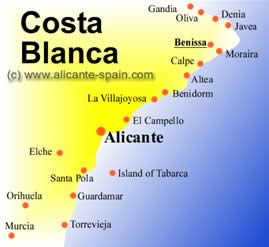 Map of Benissa along the Costa Blanca in Spain
