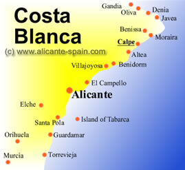 Picture of a map of Calpe and the Costa Blanca