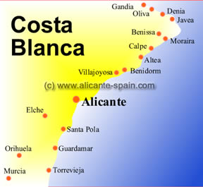 Map of the Costa Blanca Spain