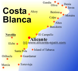 Map of the Costa Blanca showing Novelda west of Alicante