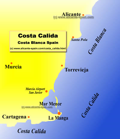 Map of the Costa Calida Spain