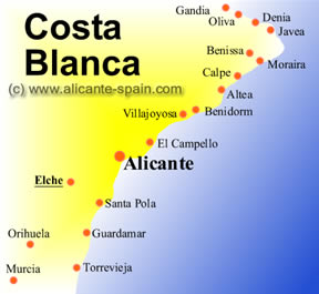 Map of Elche and the Costa Blanca Spain