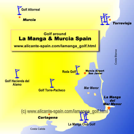 Map of golf courses La Manga Spain