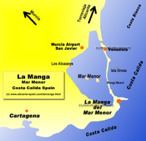 Map of La Manga del Mar Menor