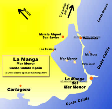 Map Of Spain La Manga.La Manga
