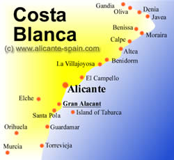 Location of gran alacant on a little map