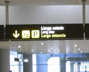 Long term parking sign at Alicante airport