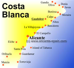 Map of Guadalest Costa Blanca Spain
