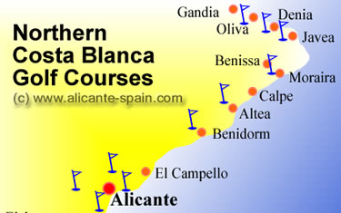 Golf from Benidorm to Oliva northern Costa Blanca Spain