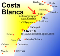 Map of the waterfalls of Algar at the Costa Blanca in Spain