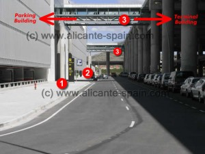 Entry to parking area, car hire drop-off and walking tunnels at Alicante airport