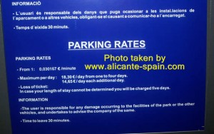 Parking rates at alicante airport February 2012