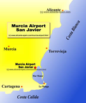 Map Of Javier Spain.Murcia Airport
