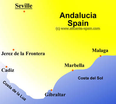 Map Of Spain Showing Seville.Seville Map
