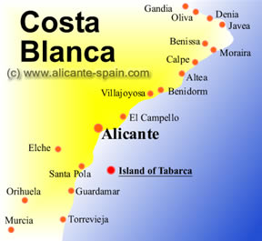 The island of tabarca on the costa blanca map
