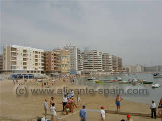 One of the many sandy beaches around Torrevieja